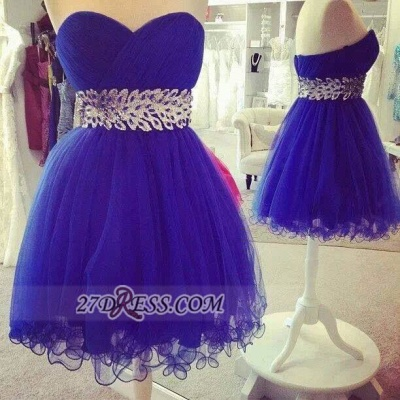Sexy Sweetheart Sleeveless Short Homecoming Dress Zipper Beadings Crystals Cocktail Gown_2