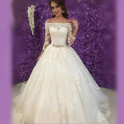 Princess Off-the-Shoulder Long Sleeve Wedding Dress 2020 Lace Tulle_4