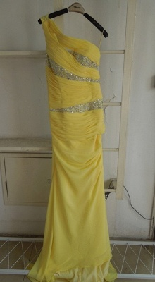 New Elegant Yellow Evening Dresses One Shoulder Long Beading Chiffon Prom gowns_1