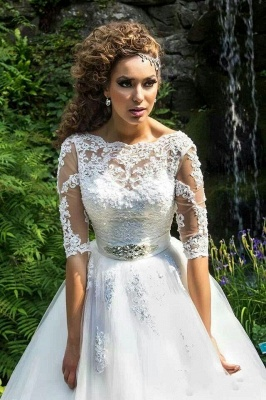 Delicate Lace Appliques Half Sleeve Wedding Dress 2020 Crystal Lace-up Sweep Train_1