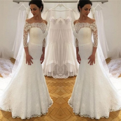 Attractive Bateau 3/4 Sleeves Lace Wedding Dress | Empire Court Train Bridal Gowns_2