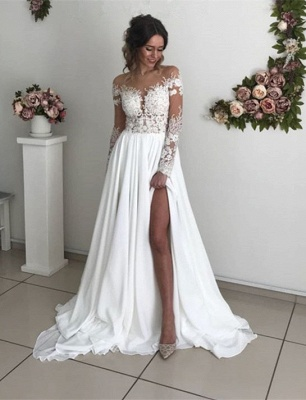 Glamorous Long Sleeve Lace Wedding Dresses | 2020 Chiffon Bridal Gowns With Slit BC0012_1