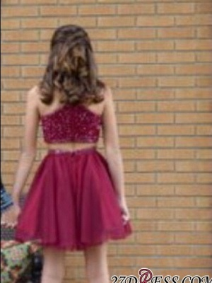 Sleeveless Red Luxury Two-Piece A-line Bead Homecoming Dresses_4