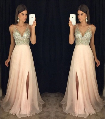 Elegant V-Neck Sleeveless crystal Prom Dresses 2020 Long chiffon Online TD055 AP0_5
