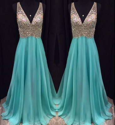 Elegant V-Neck Sleeveless crystal Prom Dresses 2020 Long chiffon Online TD055 AP0_1