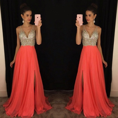 Elegant V-Neck Sleeveless crystal Prom Dresses 2020 Long chiffon Online TD055 AP0_3