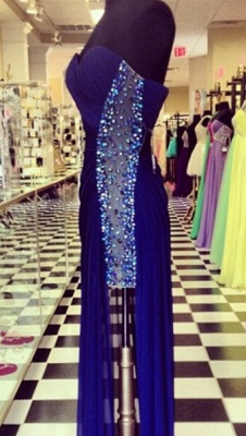 Sexy Navy Blue Sweetheart Prom Dresses 2020 Beadings Long Chiffon Party Gowns_2