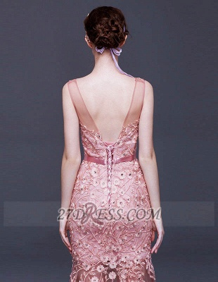Gorgeous Beadings Appliques Mermaid Prom Dress Lace-Up Sleeveless Evening Gowns_3