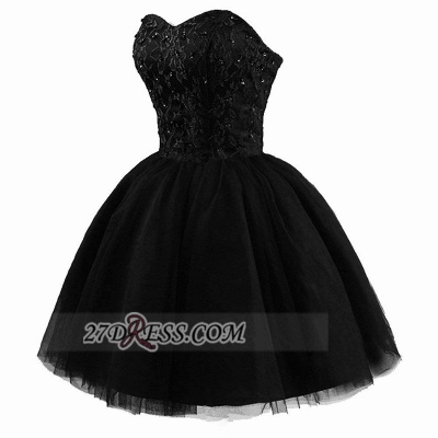 Modern Sweetheart Sleeveless Black Cocktail Dress Lace-up Beading Sequins Ball Gown Short Homecoming Gown_3