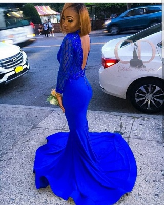 Charming Long Sleeves Royal Blue Prom Dress | Mermaid Sequin Evening Gowns With Zipper BC1063_2