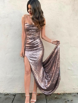 Sexy Strapless Sequins Mermaid Prom Dress 2020 Front Split On Sale_1