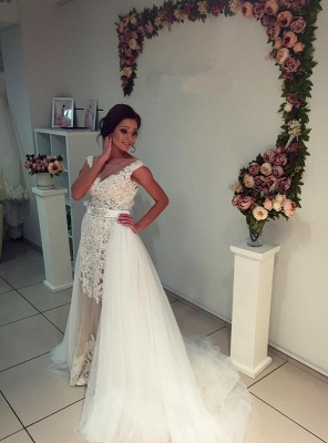 Gorgeous Lace Tulle 2020 Wedding Dress Removal Train Cap Sleeve Illusion_6