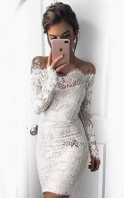 Cocktail Short Simple White Mermaid Long-Sleeve Tight Homecoming Dresses BA7002_3