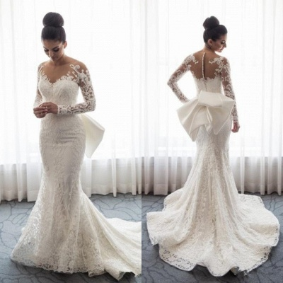 Gorgeous Long Sleeve Wedding Dress | 2020 Mermaid Lace Bridal Gowns BC0093_3