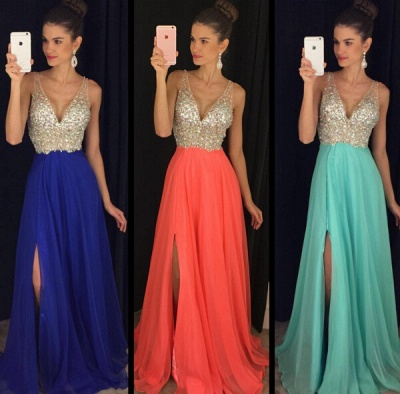 Elegant V-Neck Sleeveless crystal Prom Dresses 2020 Long chiffon Online TD055 AP0_2