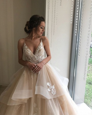 Glamorous V-Neck Lace Wedding Dresses | 2020 Ruffles Champagne Bridal Gowns_2