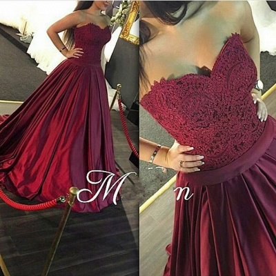 Gorgeous Sweetheart Lace 2020 prom Dress Burgundy Floor Length_3