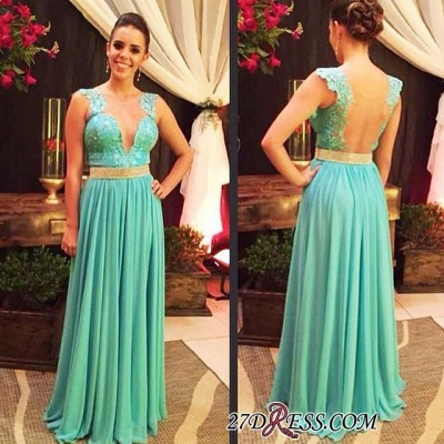 V-neck Lace Beading Floor-length Straps Hollow Blue Evening Dress_1