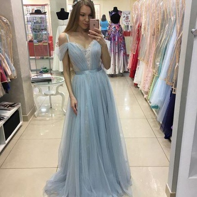 A-line Beautiful Straps Cap-Sleeves Sweep-train Tulle Prom Dress_2