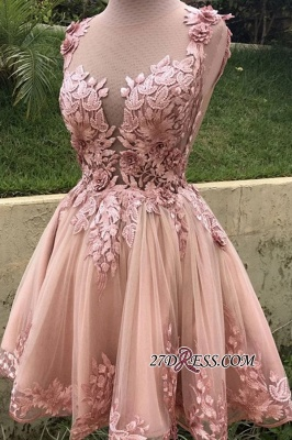 Applique Cute A-line Sleeveless Short Scoop Homecoming Dresses_1