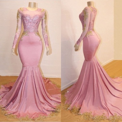 Gorgeous Long Sleeve 2020 Prom Dresses | Mermaid Pink Appliques Evening Gowns BC1142_3