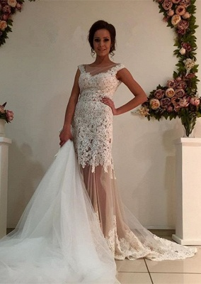 Gorgeous Lace Tulle 2020 Wedding Dress Removal Train Cap Sleeve Illusion_1