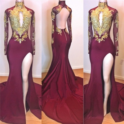 Glamorous Burgundy Long Sleeve Prom Dresses | 2020 Mermaid Slit Gold Appliques Evening Gowns BC0956_2