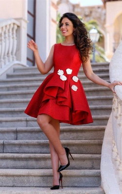 Short Sleeveless Red Sexy Flowers Homecoming Dress_1