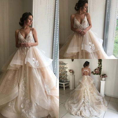 Glamorous V-Neck Lace Wedding Dresses | 2020 Ruffles Champagne Bridal Gowns_4