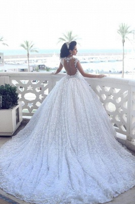 Glamorous Cap Sleeve Lace Wedding Dresses 2020 Ball Gown With Train BA3022_5