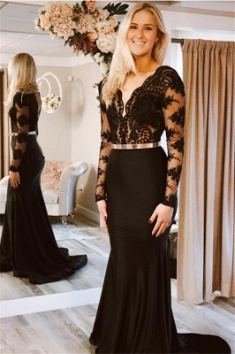 Black Long-Sleeves Mermaid Prom Dresses | Sexy Lace Applique Prom Gown_1