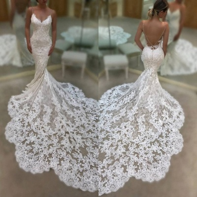 Gorgeous Spaghetti-Straps V-Neck Mermaid Wedding Dresses | 2020 Lace Bridal Gowns On Sale_3
