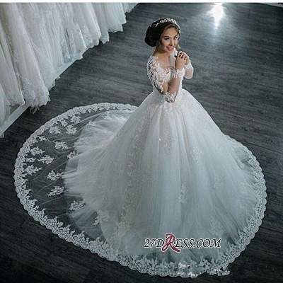 Ball-Gown Beaded Lace Sheer Long-Sleeves Wedding Dresses BA4150_1