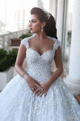 Glamorous Cap Sleeve Lace Wedding Dresses 2020 Ball Gown With Train BA3022_4