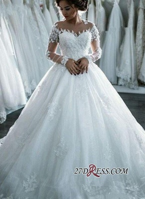 Ball-Gown Beaded Lace Sheer Long-Sleeves Wedding Dresses BA4150_5