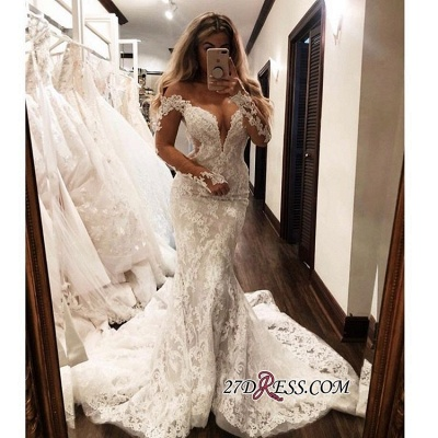 Gorgeous Lace Mermaid Wedding Dresses | Off The Shoulder Long Sleeves Prom Dress_1