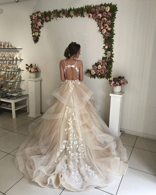 Glamorous V-Neck Lace Wedding Dresses | 2020 Ruffles Champagne Bridal Gowns_3