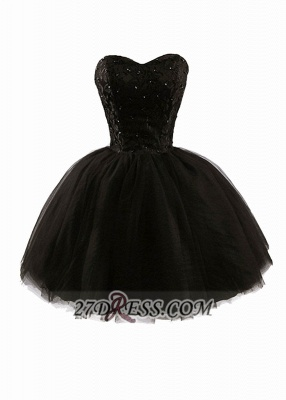 Modern Sweetheart Sleeveless Black Cocktail Dress Lace-up Beading Sequins Ball Gown Short Homecoming Gown_1