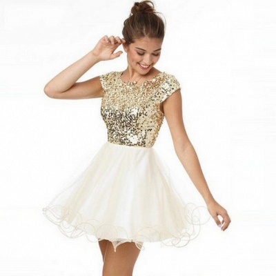 Newest Sequined Mini Jewel 2020 Homecoming Dress Cap Sleeve A-line_3