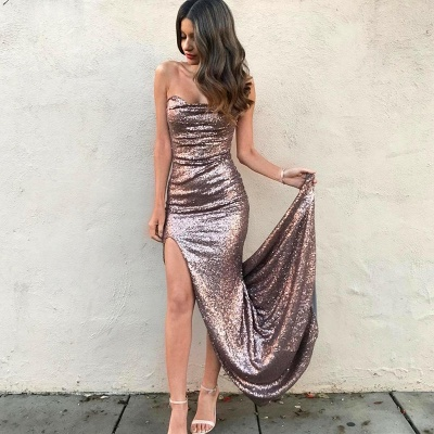 Sexy Strapless Sequins Mermaid Prom Dress 2020 Front Split On Sale_3