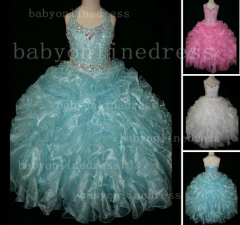 Newbron Beauty Cheap Girls Pageant Dresses Rhinestone Flower Girls Beaded Party Dresses on Sale_1