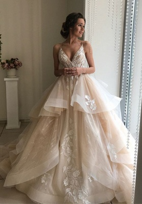 Glamorous V-Neck Lace Wedding Dresses | 2020 Ruffles Champagne Bridal Gowns_1