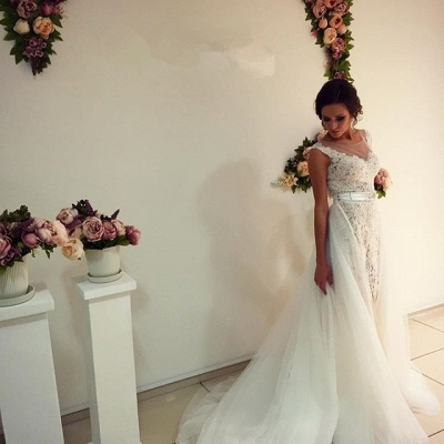 Gorgeous Lace Tulle 2020 Wedding Dress Removal Train Cap Sleeve Illusion_5