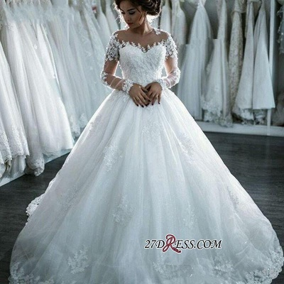 Ball-Gown Beaded Lace Sheer Long-Sleeves Wedding Dresses BA4150_4