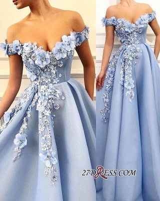 Elegant Off-The-Shoulder Sleeveless Prom Dress | New Arrival Flower Appliques A-Line Evening Gown_2