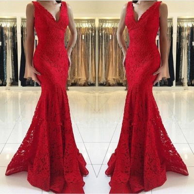 Stunning Red Lace Prom Dress | 2020 Mermaid Long Evening Gowns_3