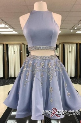 Short Crystal Two-Pieces A-line Sleeveless Gorgeous Homecoming Dress_2