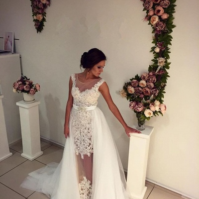 Gorgeous Lace Tulle 2020 Wedding Dress Removal Train Cap Sleeve Illusion_4