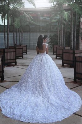 Glamorous Cap Sleeve Lace Wedding Dresses 2020 Ball Gown With Train BA3022_3