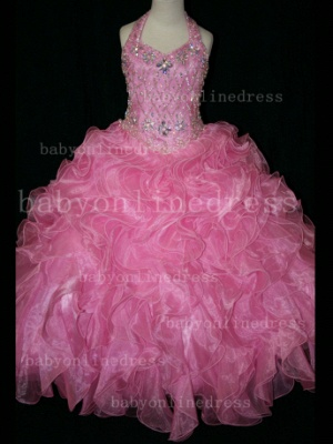 Newbron Beauty Cheap Girls Pageant Dresses Rhinestone Flower Girls Beaded Party Dresses on Sale_3